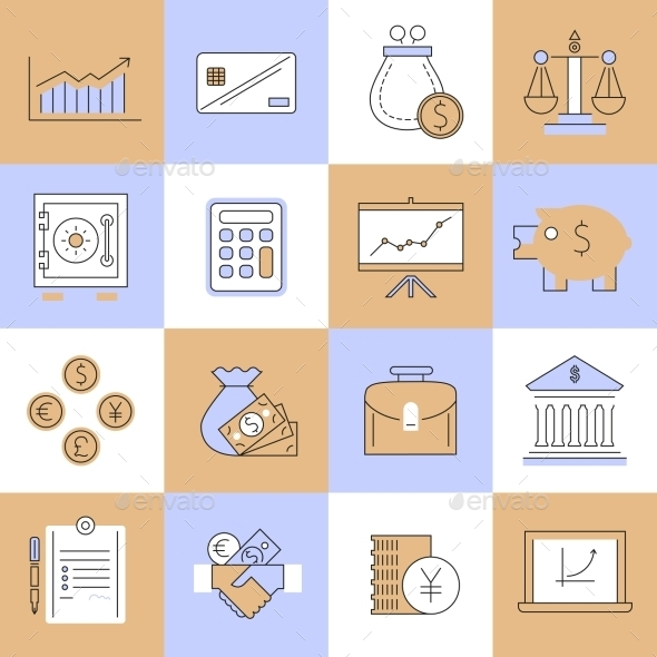 GraphicRiver Finance Icons Set Flat Line 9070022