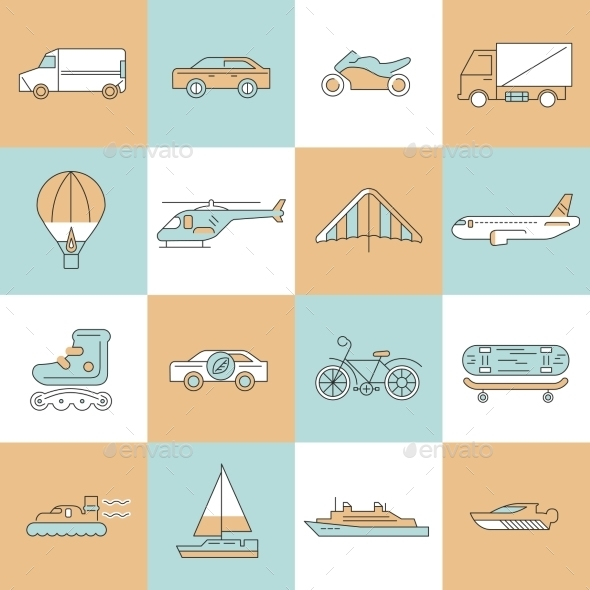 GraphicRiver Transport Icons Flat Line Set 9070027
