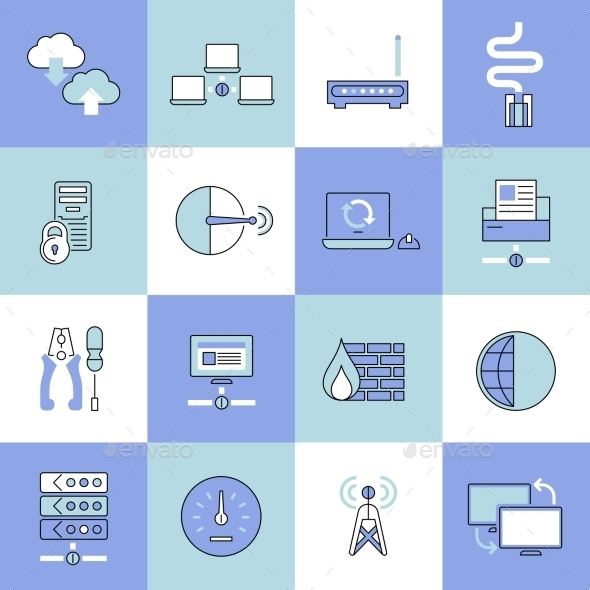GraphicRiver Network Icons Set Flat Line 9070028