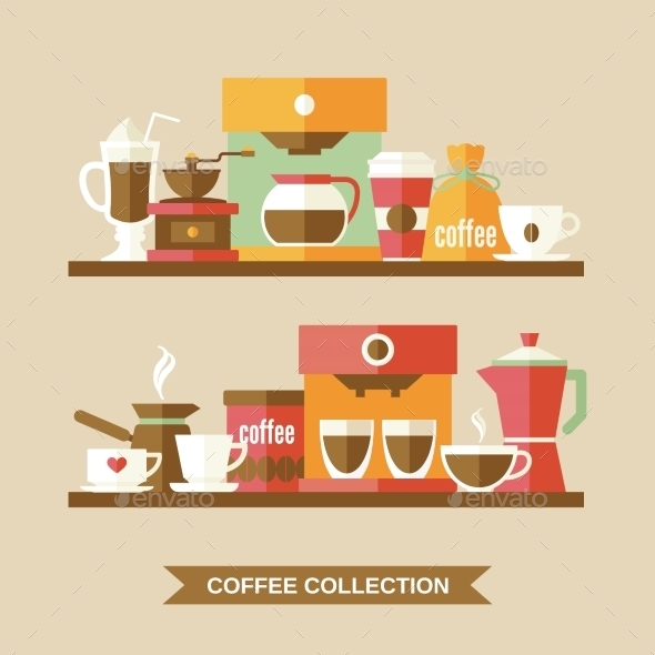 GraphicRiver Coffee Elements on Shelves 9070031