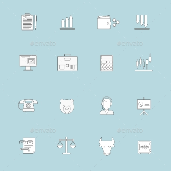 GraphicRiver Finance Exchange Icons Flat Line 9070055