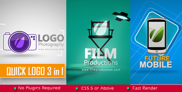 AE模板:3组数码相机扁平化logo动画展示模板包Videohive Quick Logo 3 in 1