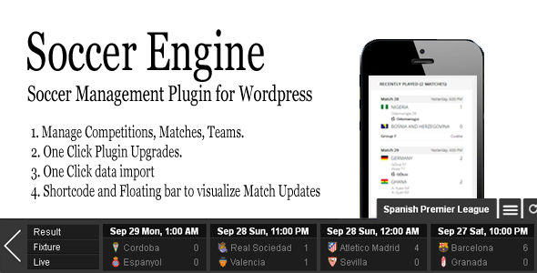 CodeCanyon Soccer Engine WordPress Plugin 9070583