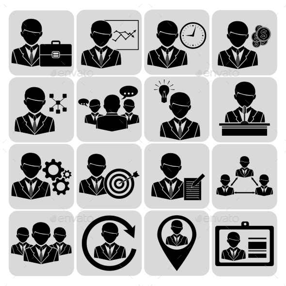 GraphicRiver Business and Management Icons Black 9070753