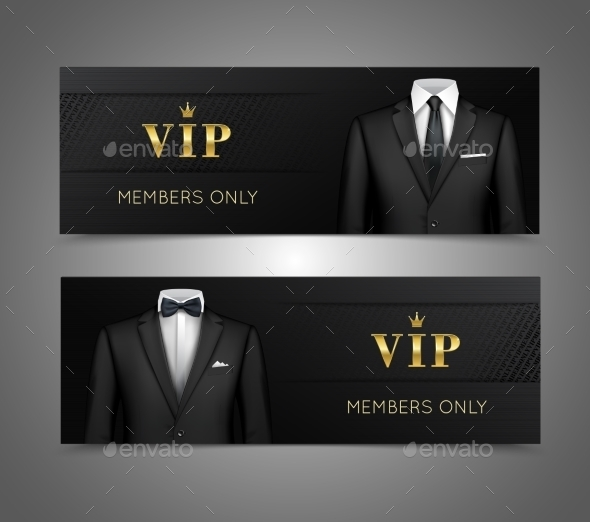 GraphicRiver Businessman Suit VIP Cards Horizontal Banners 9070816