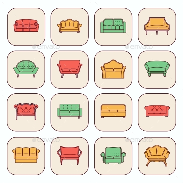 GraphicRiver Sofa Icon Set 9070822