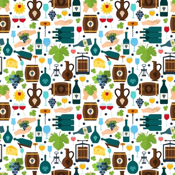 GraphicRiver Wine Seamless Pattern 9070861