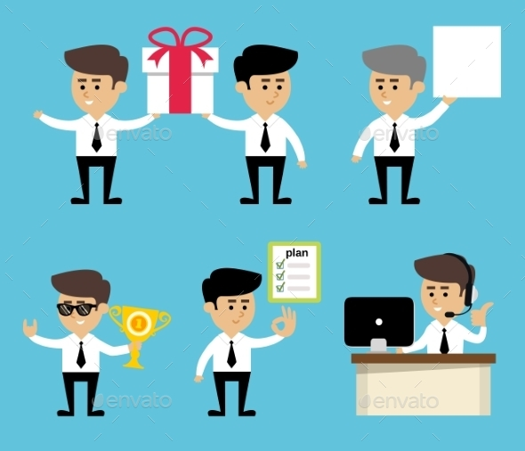 GraphicRiver Businessman Poses Set 9070880