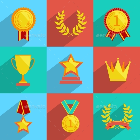 GraphicRiver Award Icons Set Colored 9070884