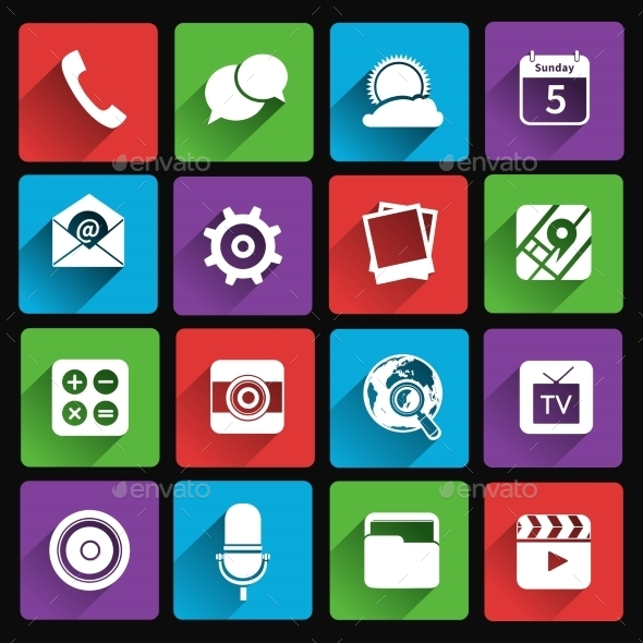GraphicRiver Mobile Applications Icons Flat 9070885