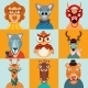 Hipster Animals Icons Flat - GraphicRiver Item for Sale