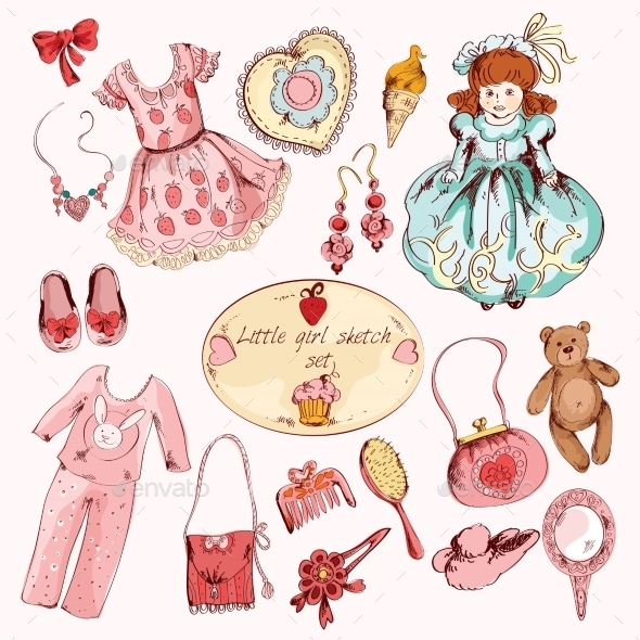 GraphicRiver Little Girl Accessories Colored Items Set 9071037