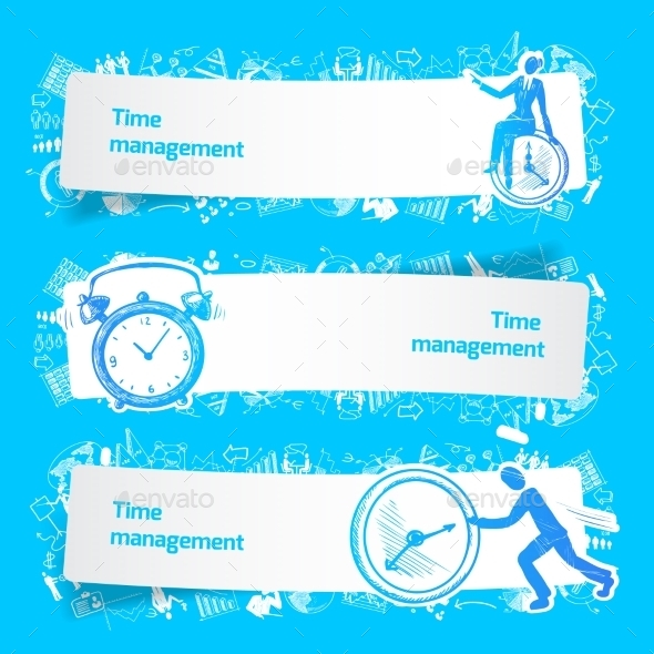 GraphicRiver Time Management Set Banners Sketch 9071051