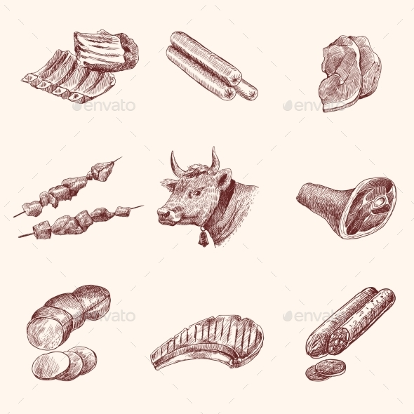 GraphicRiver Sketch Meat Icons 9071056