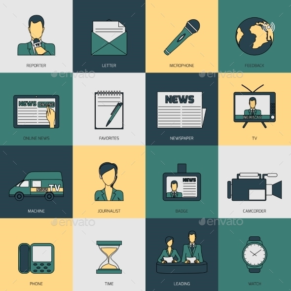 GraphicRiver News Icons Flat Line 9071062