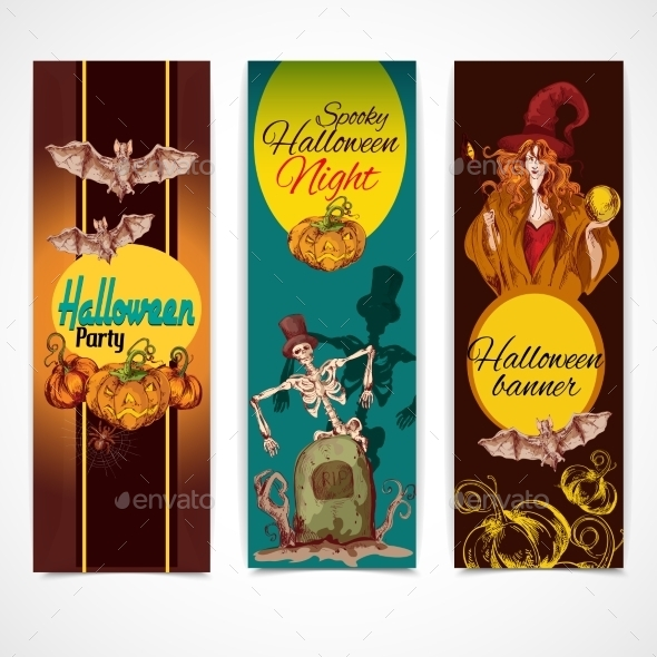GraphicRiver Halloween Colored Banners Vertical 9071063