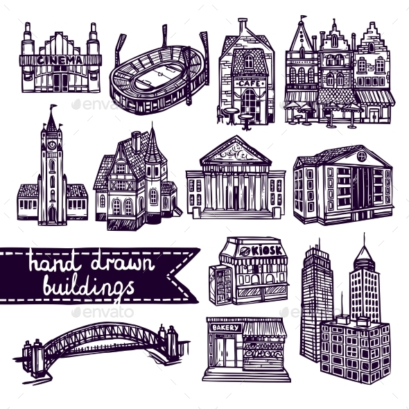 GraphicRiver Sketch City Building Set 9071069