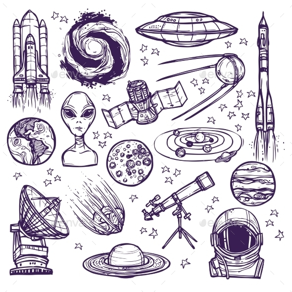 GraphicRiver Space Sketch Set 9071071