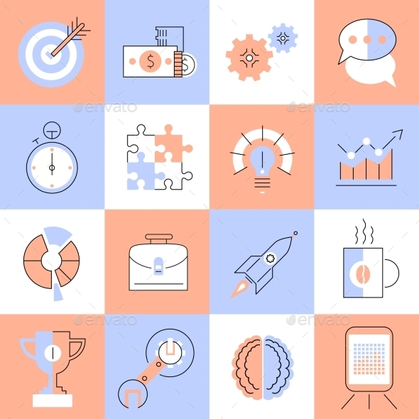 GraphicRiver Creative Icons Set Flat Line 9071073