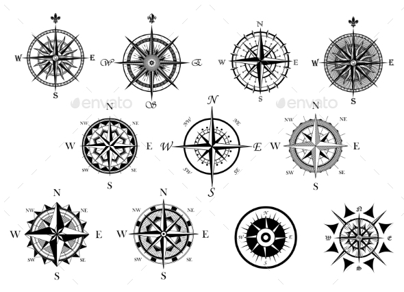 GraphicRiver Nautical Wind Rose and Compass Icons Set 9071317