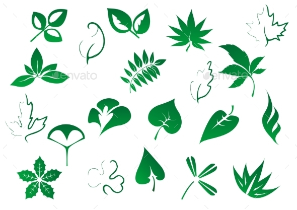 GraphicRiver Green Tree and Plants Leaves Set 9071325