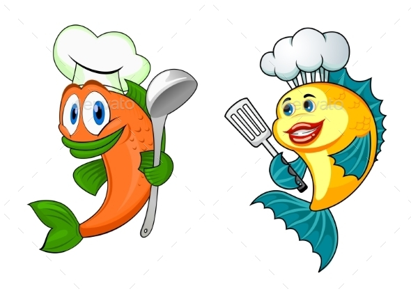 GraphicRiver Cartoon Chef Fish Characters 9071337