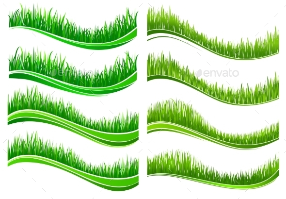 GraphicRiver Green Colored Grass Borders 9071372