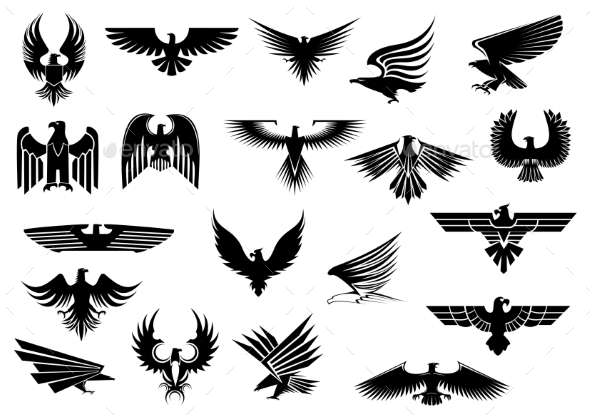 GraphicRiver Heraldic Eagles Falcons and Hawks Set 9071377