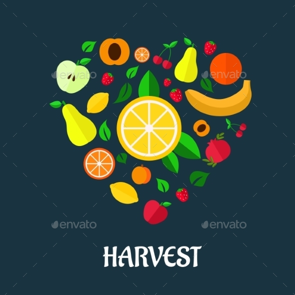 GraphicRiver Fruits Harvest Flat Design 9071387