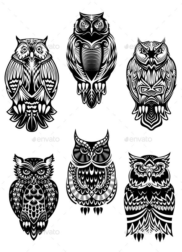 GraphicRiver Tribal Owl Birds Set 9071398