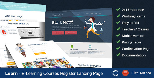 ThemeForest Learn Unbounce Education Classes Landing Page 9071936