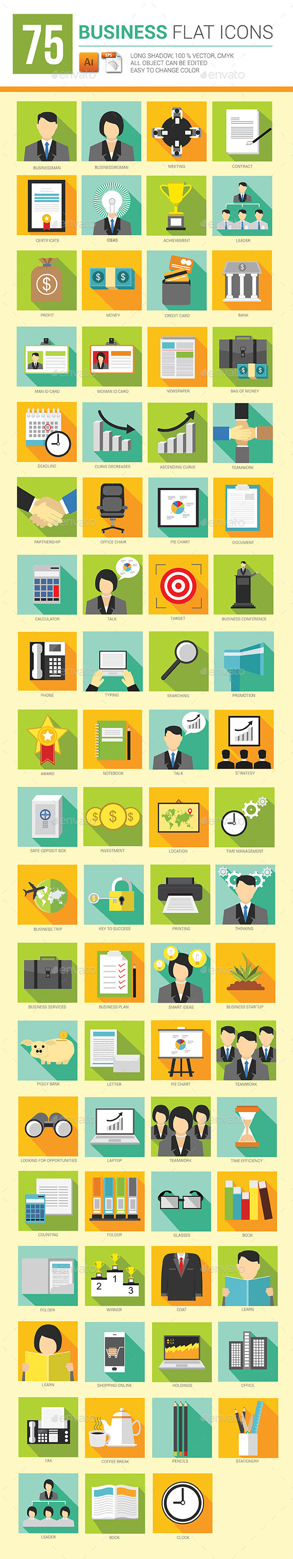 GraphicRiver 75 Business Flat Icons Long Shadow 9072029