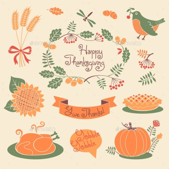 GraphicRiver Happy Thanksgiving Set of Elements for Design 9072160