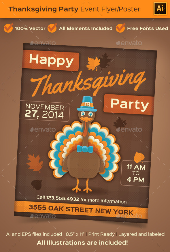 GraphicRiver Thanksgiving Party Event Poster or Flyer 9072185