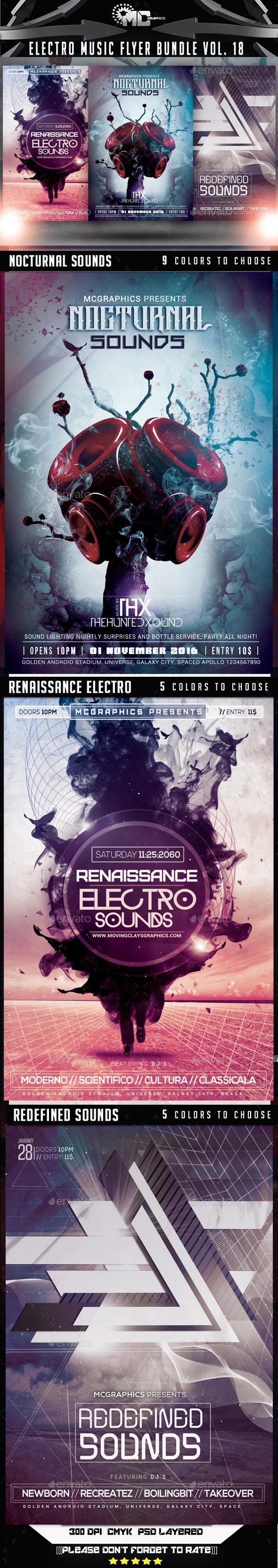GraphicRiver Electro Music Flyer Bundle Vol.18 9072558