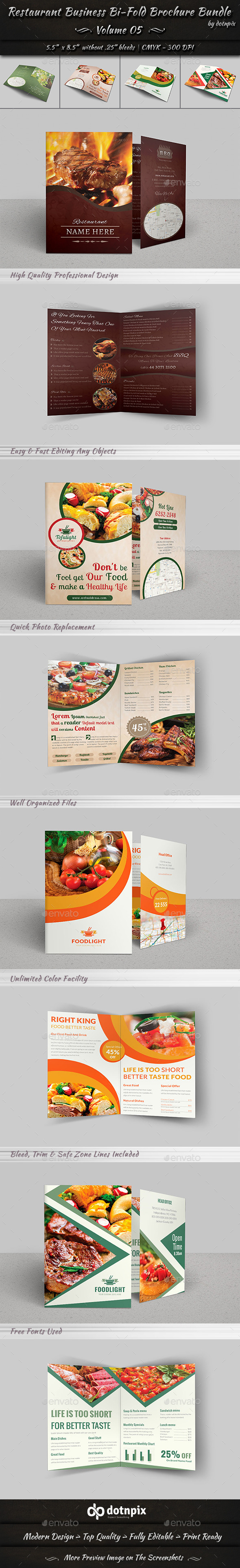Restaurant Business Bi-Fold Brochure Bundle v5