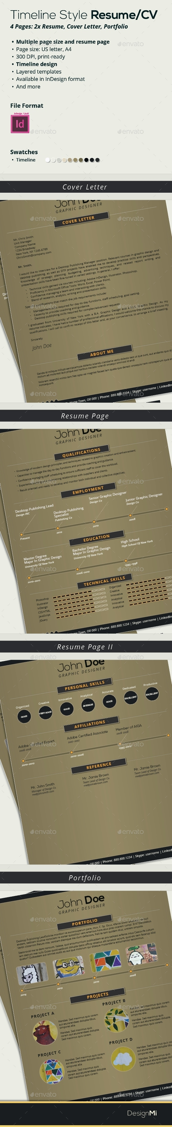 GraphicRiver Resume Template CV Timeline-Style 9072933