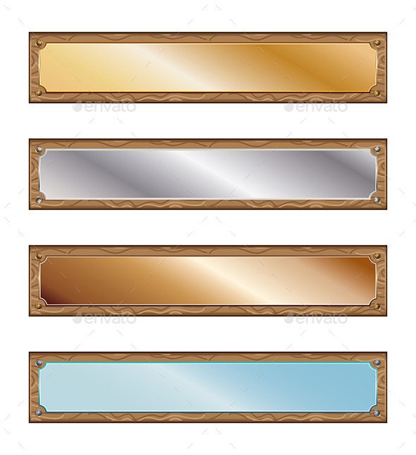 GraphicRiver Metal Plates with Wood Frames 9074790