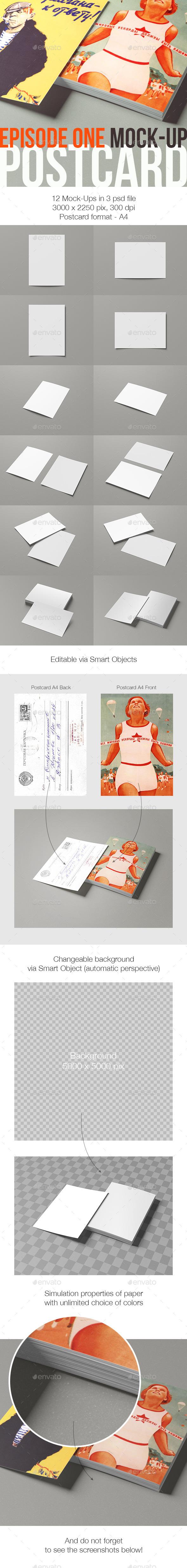 GraphicRiver Postcard Episode One Mock-Up 9075200