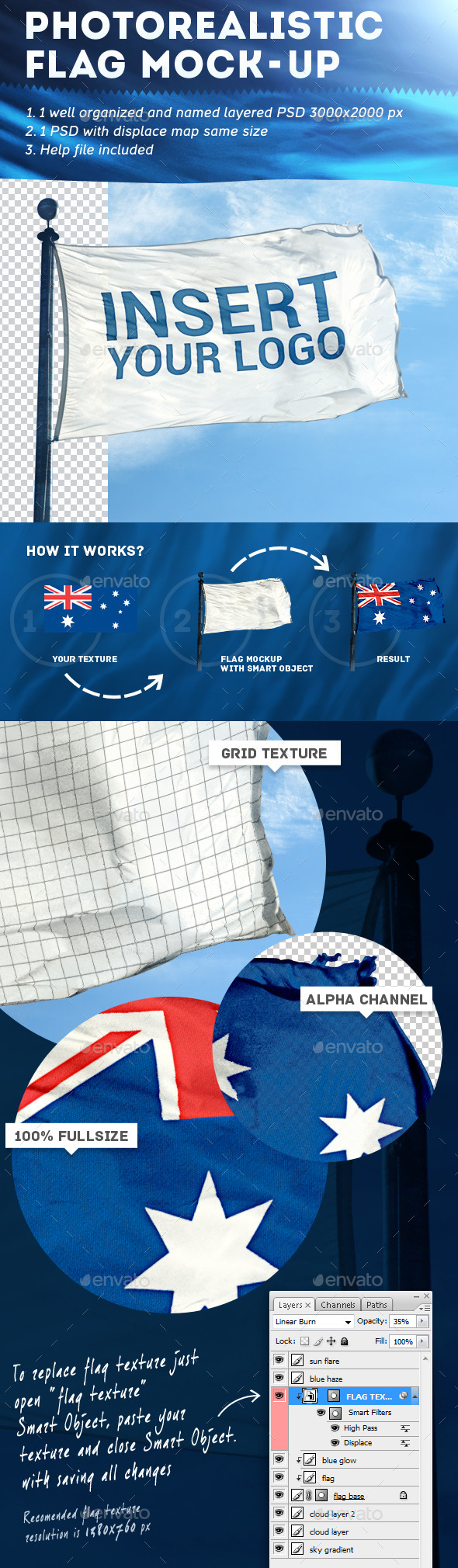 GraphicRiver Photorealistic Flag Mock-Up 9070441