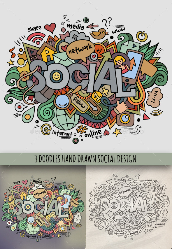 GraphicRiver 3 Social Doodles Designs 9075272