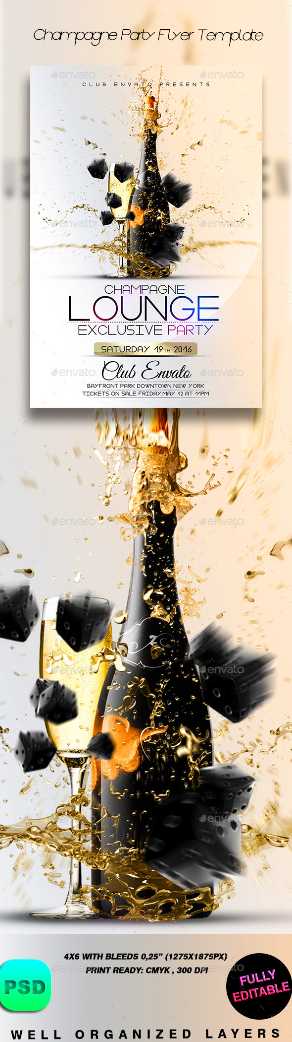 GraphicRiver Champagne Party Flyer Template 9075815
