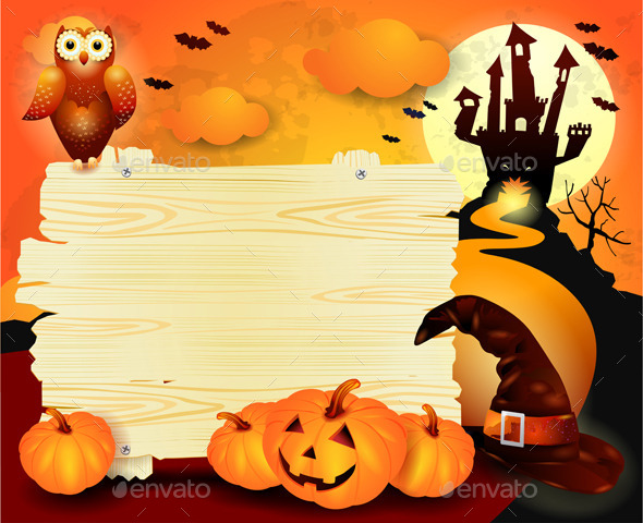 Halloween Background With Sign In Orange Graphicriver