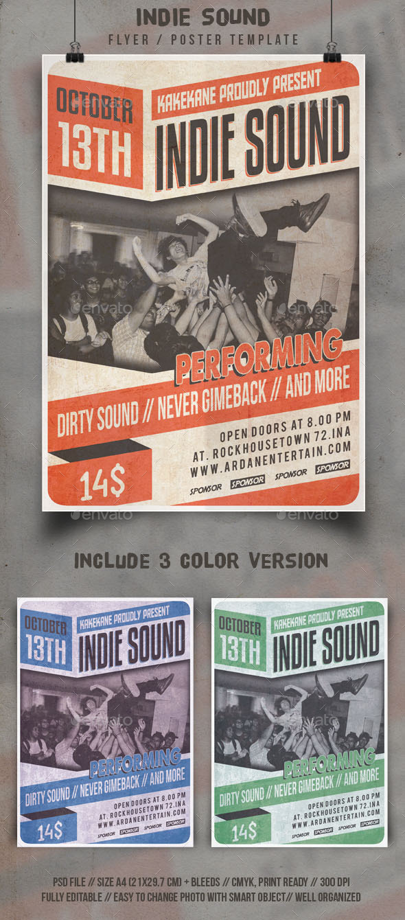 GraphicRiver Indie Sound Flyer Template 9076533