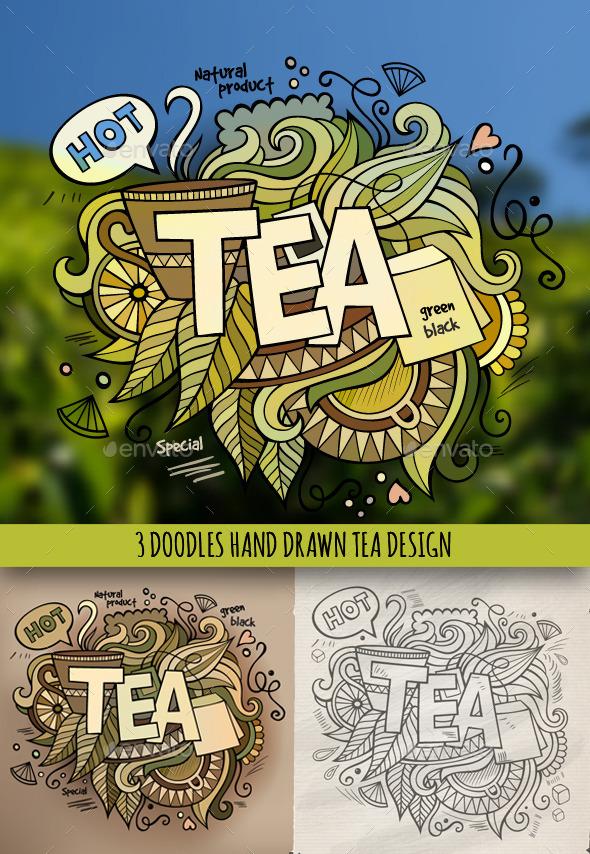 GraphicRiver 3 Tea Doodles Designs 9076599