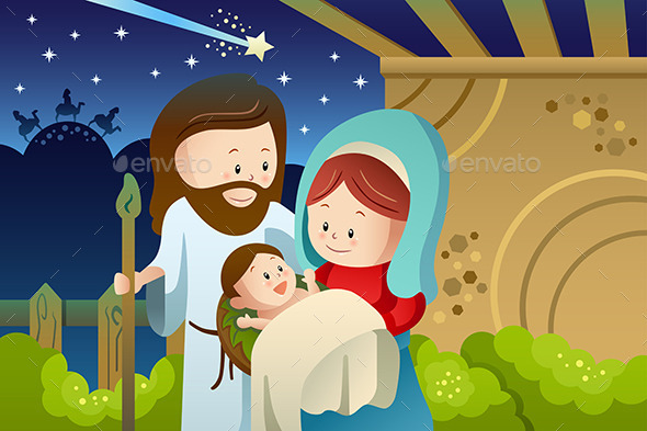 GraphicRiver Joseph Mary and Baby Jesus for Nativity Concept 9076615
