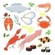 Selection of Seafood Shrimp and Sushi Icons - GraphicRiver Item for Sale
