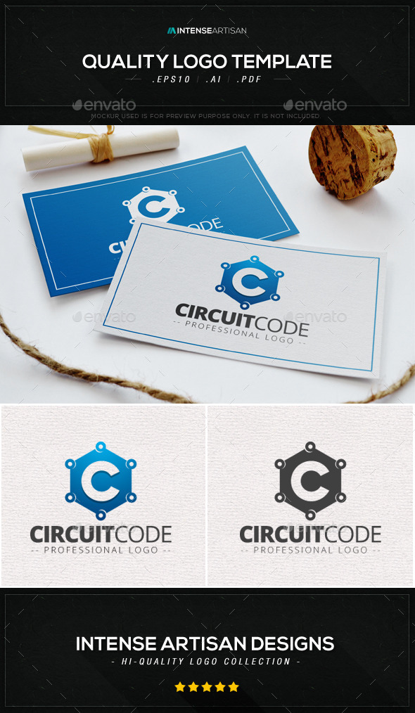 GraphicRiver Circuit Code Logo Template 9077306