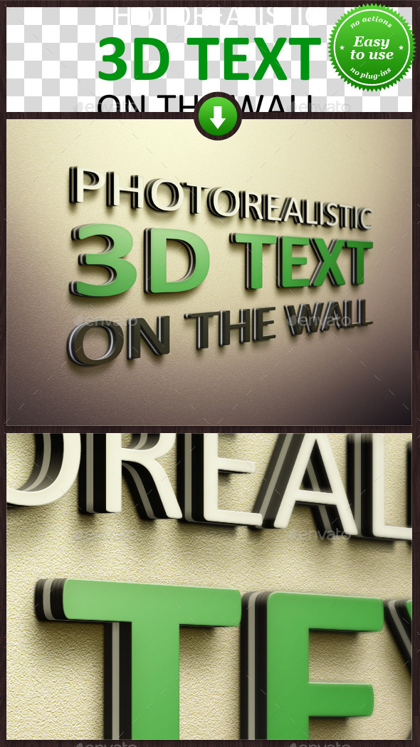 GraphicRiver Realistic 3D Text on the Wall Mockup 9077821