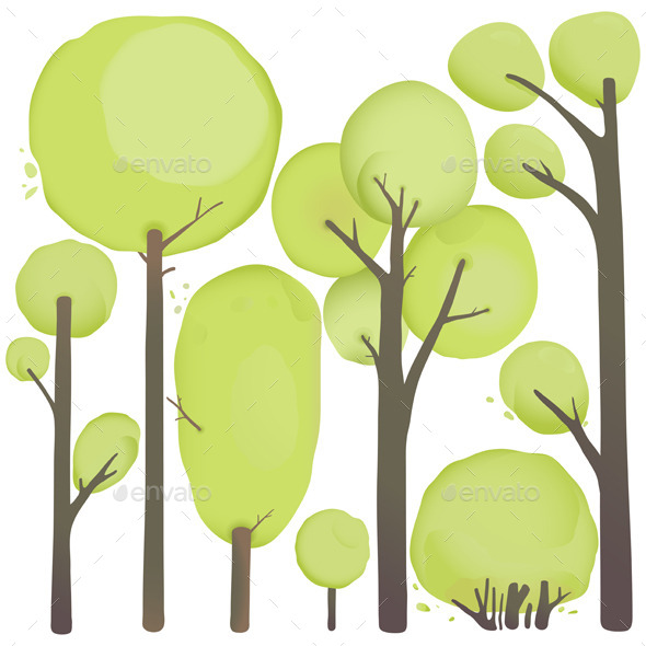 GraphicRiver Cartoon Watercolor Trees Set 9078264